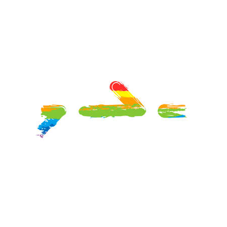 Few arrows, same direction. Linear, thin outline. Drawing sign with LGBT style, seven colors of rainbow (red, orange, yellow, green, blue, indigo, violet