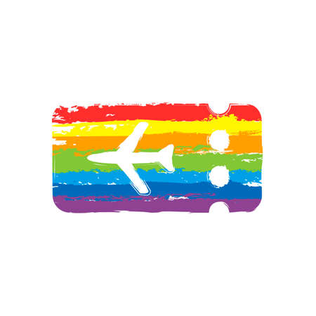 Simple ticket plane icon. Blank card. Drawing sign with LGBT style, seven colors of rainbow (red, orange, yellow, green, blue, indigo, violet