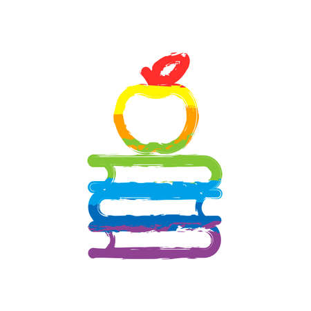 Apple on books icon. Knowledge logo. Drawing sign with LGBT style, seven colors of rainbow (red, orange, yellow, green, blue, indigo, violet