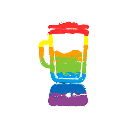 Simple blender icon. Electronic kitchen mixer. Drawing sign with LGBT style, seven colors of rainbow (red, orange, yellow, green, blue, indigo, violet