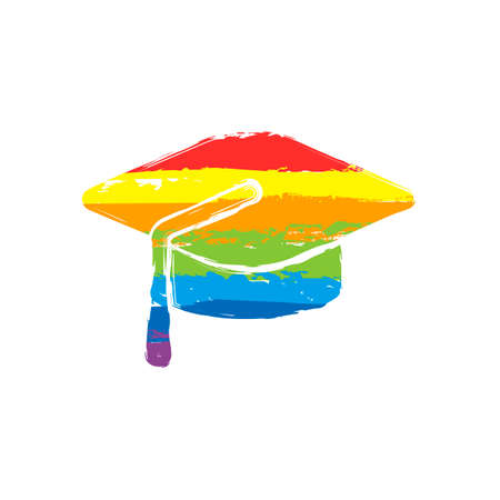 Graduation cap. Education icon. Drawing sign with LGBT style, seven colors of rainbow (red, orange, yellow, green, blue, indigo, violet Illustration