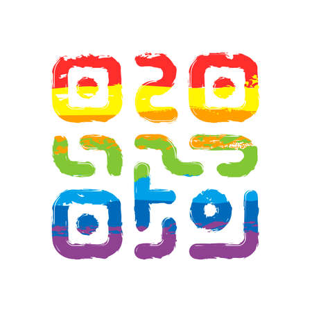 QR code. Technology icon. Simple logo. Drawing sign with LGBT style, seven colors of rainbow (red, orange, yellow, green, blue, indigo, violet Illustration