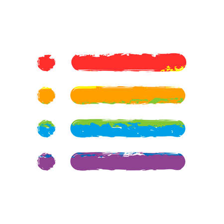 Simple list menu icon. Drawing sign with LGBT style, seven colors of rainbow (red, orange, yellow, green, blue, indigo, violet