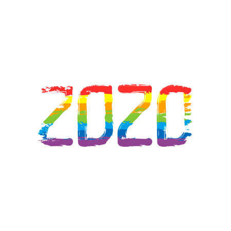 2020 number icon. Happy New Year. Drawing sign with LGBT style, seven colors of rainbow (red, orange, yellow, green, blue, indigo, violet