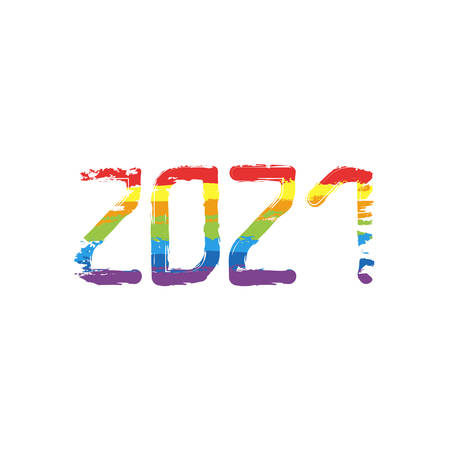 2021 number icon. Happy New Year. Drawing sign with LGBT style, seven colors of rainbow (red, orange, yellow, green, blue, indigo, violet