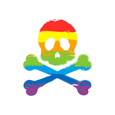 Skull and crossed bones. Simple icon. Drawing sign with LGBT style, seven colors of rainbow (red, orange, yellow, green, blue, indigo, violet