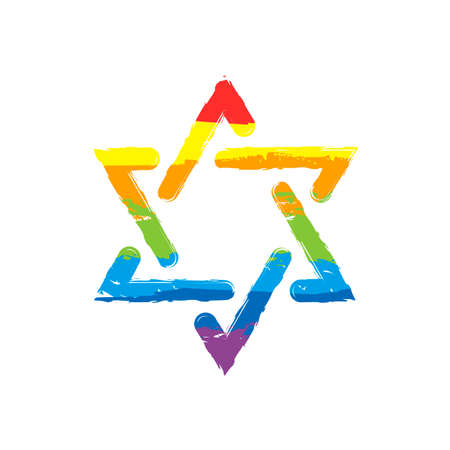 Star of david, simple icon. Drawing sign with LGBT style, seven colors of rainbow (red, orange, yellow, green, blue, indigo, violet