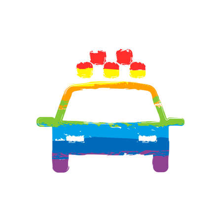 Taxi cab or car. Simple icon. Drawing sign with LGBT style, seven colors of rainbow (red, orange, yellow, green, blue, indigo, violet