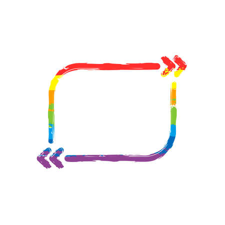 Text quote rectangle. Simple icon. Drawing sign with LGBT style, seven colors of rainbow (red, orange, yellow, green, blue, indigo, violet