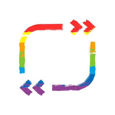Text quote square. Simple icon. Drawing sign with LGBT style, seven colors of rainbow (red, orange, yellow, green, blue, indigo, violet