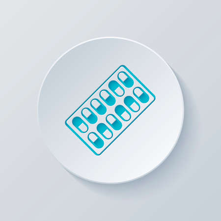 Pack Pills Icon. Cut circle with gray and blue layers. Paper style