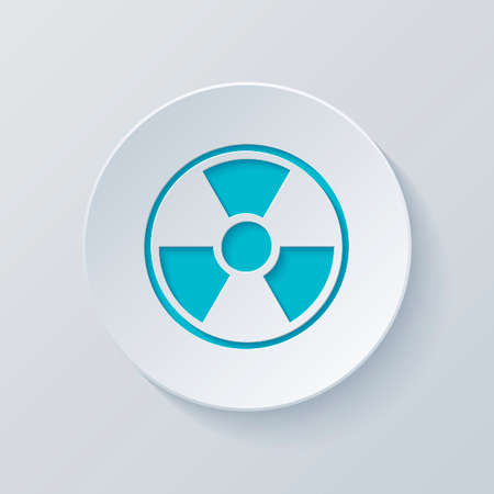 hazard, radiation. simple silhouette. Cut circle with gray and blue layers. Paper style
