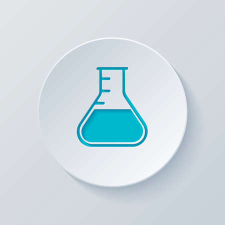 Medical test tube. simple silhouette. Cut circle with gray and blue layers. Paper style Illustration