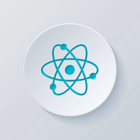 scientific atom symbol, simple icon. Cut circle with gray and blue layers. Paper style