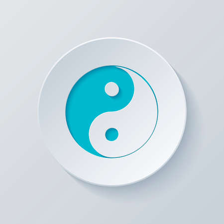 yin yan symbol. Cut circle with gray and blue layers. Paper style