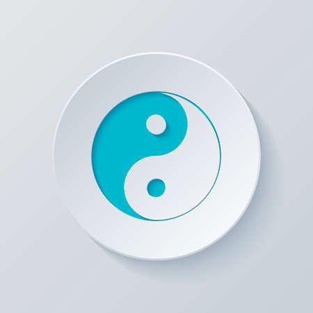yin yan symbol. Cut circle with gray and blue layers. Paper style Illusztráció