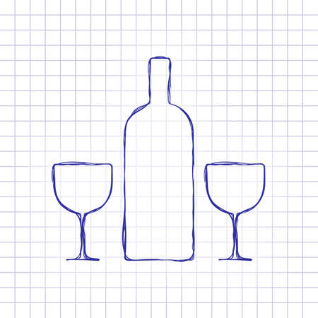 glasses and bottle. Hand drawn picture on paper sheet. Blue ink, outline sketch style. Doodle on checkered background