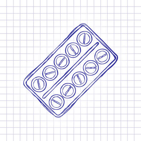 Pack Pills Icon. Hand drawn picture on paper sheet. Blue ink, outline sketch style. Doodle on checkered background