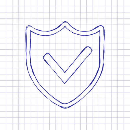 protection success. simple icon. Hand drawn picture on paper sheet. Blue ink, outline sketch style. Doodle on checkered background