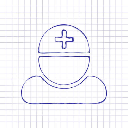 doctor, person with medical cross. Hand drawn picture on paper sheet. Blue ink, outline sketch style. Doodle on checkered background