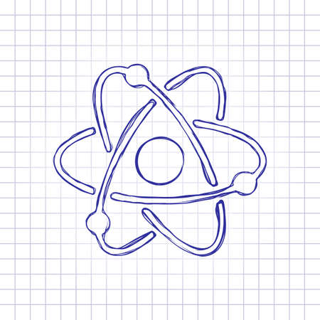 scientific atom symbol, simple icon. Hand drawn picture on paper sheet. Blue ink, outline sketch style. Doodle on checkered background Vettoriali