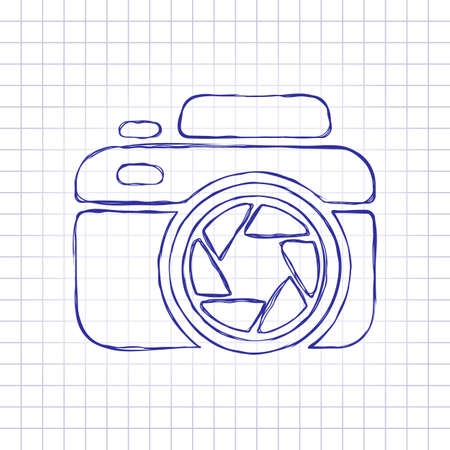 Photo camera with shutter, simple icon. Hand drawn picture on paper sheet. Blue ink, outline sketch style. Doodle on checkered background