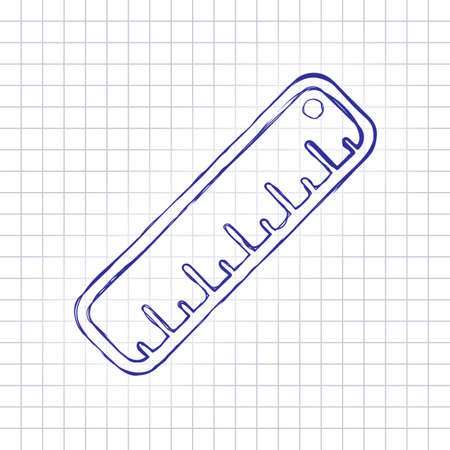 simple ruler icon. Hand drawn picture on paper sheet. Blue ink, outline sketch style. Doodle on checkered background