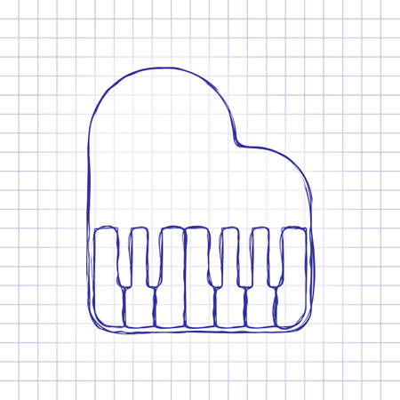 Grand piano icon. Hand drawn picture on paper sheet. Blue ink, outline sketch style. Doodle on checkered background