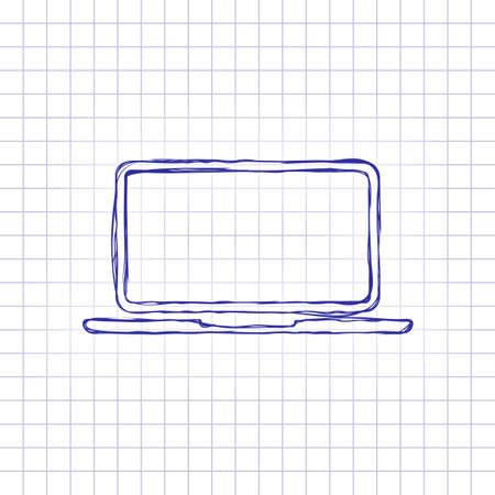 Laptop or notebook computer icon. Hand drawn picture on paper sheet. Blue ink, outline sketch style. Doodle on checkered background