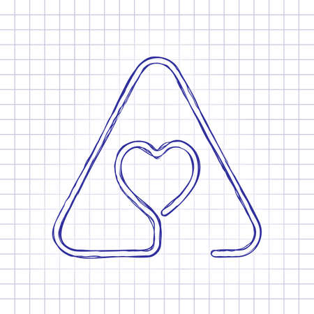 Heart in warning triangle. Linear icon with thin outline. One line style. Hand drawn picture on paper sheet. Blue ink, outline sketch style. Doodle on checkered background 写真素材 - 112219695