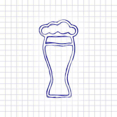 Beer glass. Simple linear icon with thin outline. Hand drawn picture on paper sheet. Blue ink, outline sketch style. Doodle on checkered background Stock Illustratie
