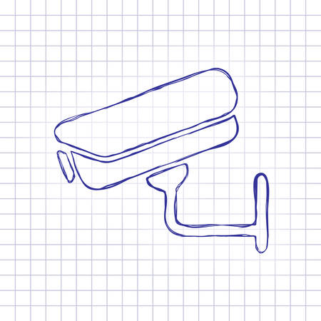 Security camera. Technology icon. Hand drawn picture on paper sheet. Blue ink, outline sketch style. Doodle on checkered background