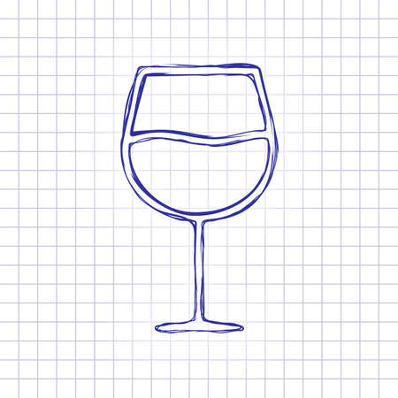 Wine glass. Linear, thin outline. Hand drawn picture on paper sheet. Blue ink, outline sketch style. Doodle on checkered background Vettoriali