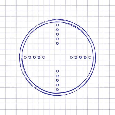 Simple target icon. Hand drawn picture on paper sheet. Blue ink, outline sketch style. Doodle on checkered background Ilustração Vetorial
