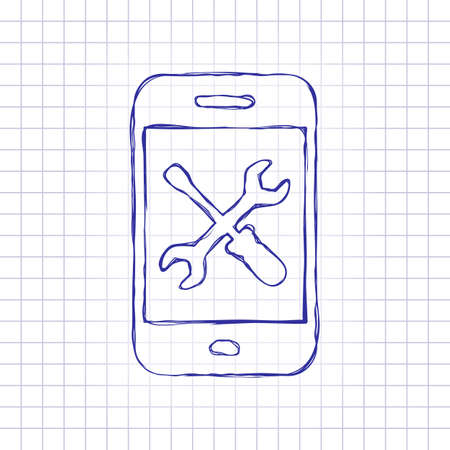 Phone repair service icon. Hand drawn picture on paper sheet. Blue ink, outline sketch style. Doodle on checkered background Vettoriali