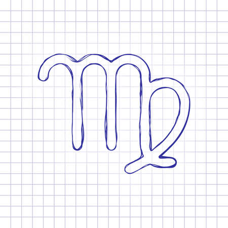 Astrological sign. Virgo simple icon. Hand drawn picture on paper sheet. Blue ink, outline sketch style. Doodle on checkered background