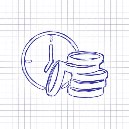Time is money. Clock and coin stack. Finance icon. Hand drawn picture on paper sheet. Blue ink, outline sketch style. Doodle on checkered background