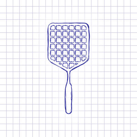 Fly swatter icon. Hand drawn picture on paper sheet. Blue ink, outline sketch style. Doodle on checkered background