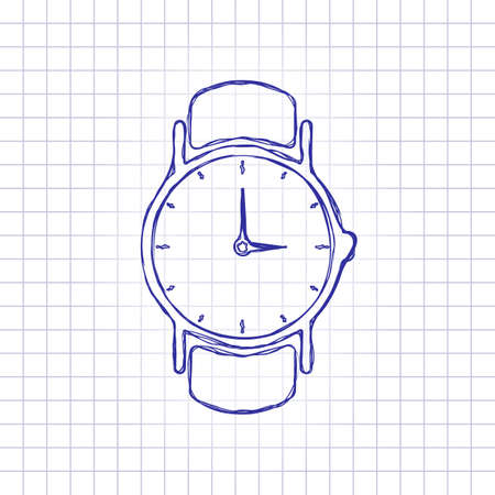 Classic hand watch with arrows, icon. Hand drawn picture on paper sheet. Blue ink, outline sketch style. Doodle on checkered background