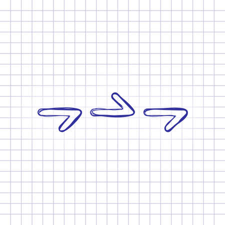 Few arrows, same direction. Linear, thin outline. Hand drawn picture on paper sheet. Blue ink, outline sketch style. Doodle on checkered background