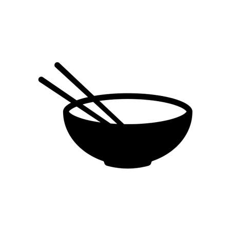 Bowl and couple of chopsticks. Asian icon. Black on white background