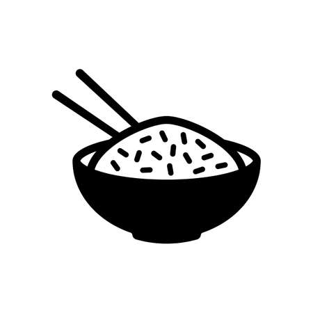 Bowl of rice with chopsticks. Icon of asian food. Black icon on white background 일러스트