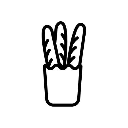 French bread in the paper bag. Food delivery logo. Black icon on white background
