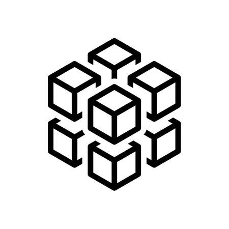 3d cube with eight blocks. Icon of rubik or ice pieces. Black icon on white background