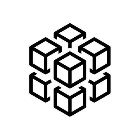 3D-Würfel mit acht Blöcken. Symbol von Rubik- oder Eisstücken. Schwarzes Symbol auf weißem Hintergrund