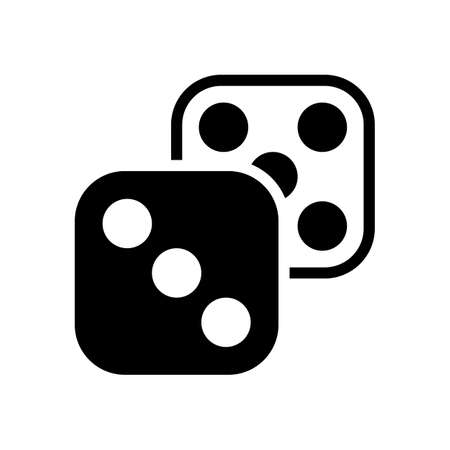 Pair of dice. Icon of azart games. Black icon on white background