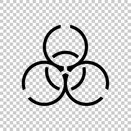Bio hazard icon. Warning sign about virus or toxic. Linear design. Black symbol on transparent background
