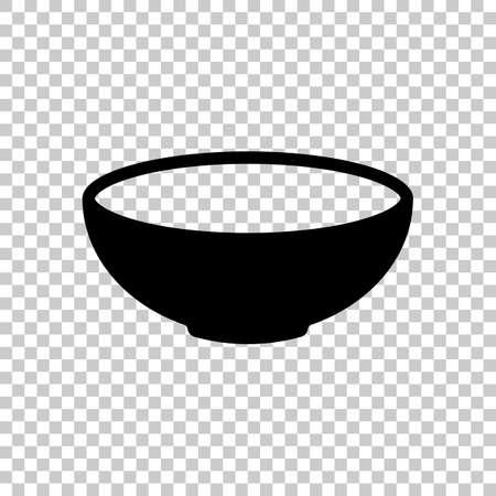 Icône de bol vide. Signe de cuisine. Symbole noir sur fond transparent