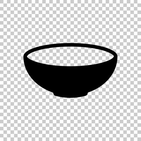 Empty bowl icon. Sign of kitchen. Black symbol on transparent background Illustration