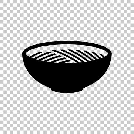 Bowl of noodles without chopsticks. Icon of asian or italian food. Black symbol on transparent background
